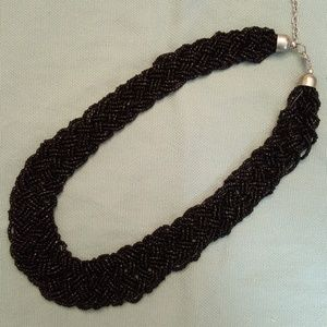 Jewelry - Black Beaded Woven Necklace
